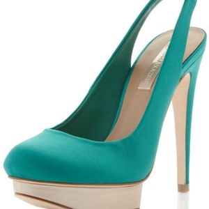 BCBG Fondly Island Platform Satin Sea Green Pump